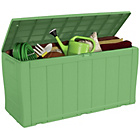 more details on Keter Wood Effect Plastic Storage Box - Green.