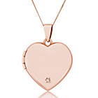 more details on 9ct Rose Gold Diamond Set Love Heart Locket Pendant.