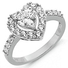 more details on Sterling Silver Cubic Zirconia Heart Ring - P.