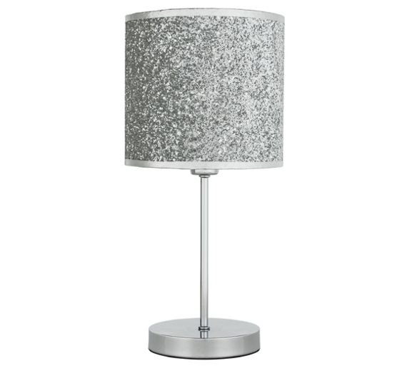 Buy home sparkling table lamp silver at argoscouk for Silver glitter floor lamp