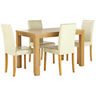 more details on HOME Pemberton Dining Table and 4 Chairs - Oak Effect/Cream.