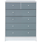 more details on New Malibu Gloss 4+2 Drawer Chest - Grey.