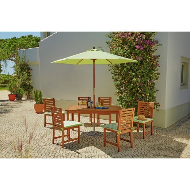 buy madison 6 seater wooden patio set green at. Black Bedroom Furniture Sets. Home Design Ideas
