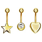 more details on Gold Colour Crystal, Star and Heart Belly Bars - Set of 3.