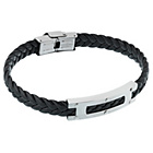 more details on Stainless Steel Black Leather Bracelet.