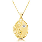 more details on 9ct Gold Diamond Set Half Engraved Oval Locket Pendant.
