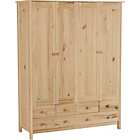 more details on New Scandinavia 4 Door 6 Drawer Wardrobe - Pine.