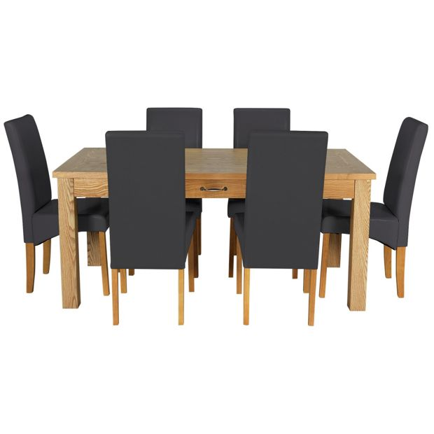 Buy Heart Of House Farnham Table And 6 Chairs Oak Veneer Black At Your Online