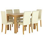 more details on HOME Pemberton Dining Table and 6 Chairs - Oak Effect/Cream.