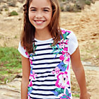 more details on Cherokee Girls Stripe and Flower T-Shirt - 9-10 Years.