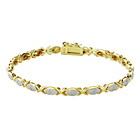 more details on 9ct Gold Plated Silver 0.15ct tw Kisses Diamond Set Bracelet