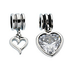 more details on Link-Up Sterling Silver/Crystal Heart Drop Charms - Set of 2