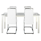 more details on Hygena Apollo Glass Dining Table & 4 White Chairs.