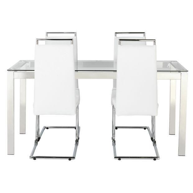 Buy hygena apollo glass dining table and 4 chairs white for White dining table and 4 chairs