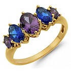 more details on 9ct Gold Plated Silver Synthetic Blue CZ Eternity Ring.