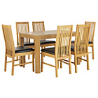 more details on HOME Pemberton Dining Table and 6 Paris Chairs - Oak Effect.