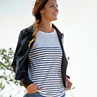 more details on Cherokee Women's Bretton Stripe Top with Zip Detail -Size 16