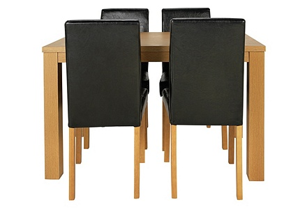Penley Oak Stain Extendable Dining Table and 6 Black Chairs.