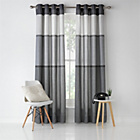 more details on Banded Stripe Unlined Eyelet Curtains - 229x229cm - Grey.