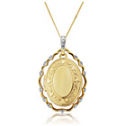 more details on 9ct Gold Oval Diamond Set Frame Locket Pendant.