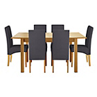more details on Heart of House Clevedon Ext Table &6 Charcoal Skirted Chairs