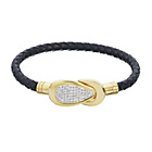 more details on Black Leather Crystal Set Gold Plated Steel Clasp Bracelet.