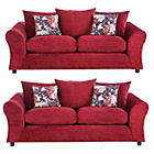 more details on HOME Clara Large and Large Fabric Sofa - Red.