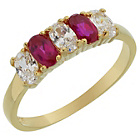 more details on 18ct Gold Plated S.Silver Created Ruby & White CZ Ring.