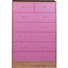 more details on New Malibu 5+2 Drawer Chest - Pink on Pine.
