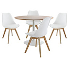 more details on Habitat Dining Set-Lance Oak Table and 4 Jerry Chairs White