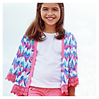 more details on Cherokee Girls Aztec Print Kimono Lace Trim.