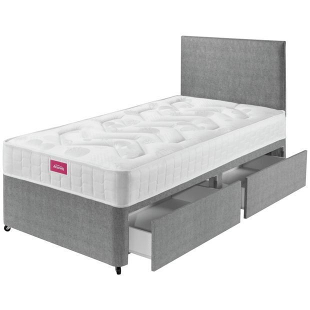 Buy airsprung elmdon deep ortho single 2 drawer divan bed for Single divan bed with slide storage
