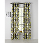 more details on Amble Leaf Unlined Eyelet Curtains - 168x183cm - Grey.