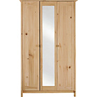 more details on New Scandinavia 3 Door Mirrored Wardrobe - Pine.