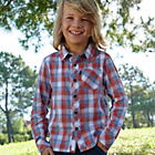 more details on Cherokee Boys Orange and Blue Check Shirt - 11-12 Years.