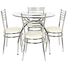 more details on Lusi Glass Dining Table and 4 White Chairs.