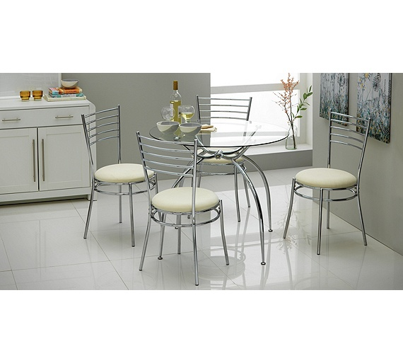 buy hygena lusi glass dining table and 4 chairs white at
