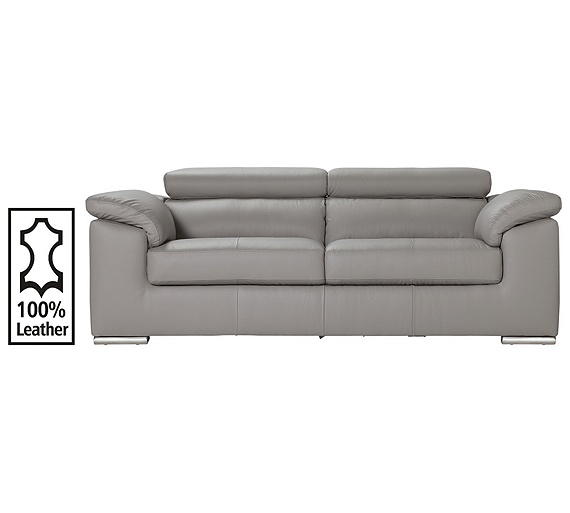 Buy hygena valencia 3 seater leather sofa grey at argos for Outlet sofas valencia