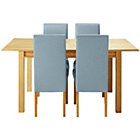 more details on Heart of House Clevedon Ext Table &4 Duck Egg Skirted Chairs