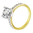 more details on 18ct Gold Plated Silver 3ct Look CZ Shoulder Ring.