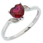 more details on Sterling Silver Created Ruby Heart Ring.