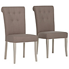 more details on Pair of Schreiber Chalbury Upholstered Dining Chairs -White.