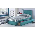 more details on Upholstered Single Bed Frame with Drawer - Blue.