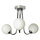 more details on Collection Opal 3 Light Glass Ball Ceiling Fitting - Chrome.