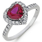 more details on Sterling Silver Created Ruby and White Cubic Zirconia Ring.