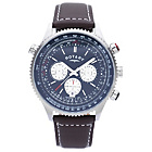 more details on Rotary Mens' Stainless Steel Chronograph Leather Strap Watch