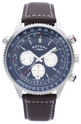 buy rotary mens stainless steel chronograph leather