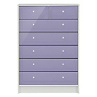more details on New Malibu Gloss 5+2 Drawer Chest - Lilac.