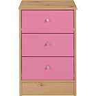 more details on HOME New Malibu 3 Drawer Bedside Chest - Pink on Pine.