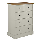 more details on Kensington 3+2 Drawer Chest - Putty & Oak Effect.